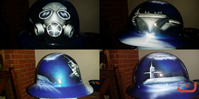 navy themed hard hat with submarine and aircraft carrier