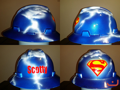 Custom airbrushed superman hard hat with lightning