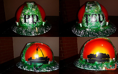 Custom Painted hard hat in green