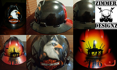 custom hard hat with harley eagle and offshore rig