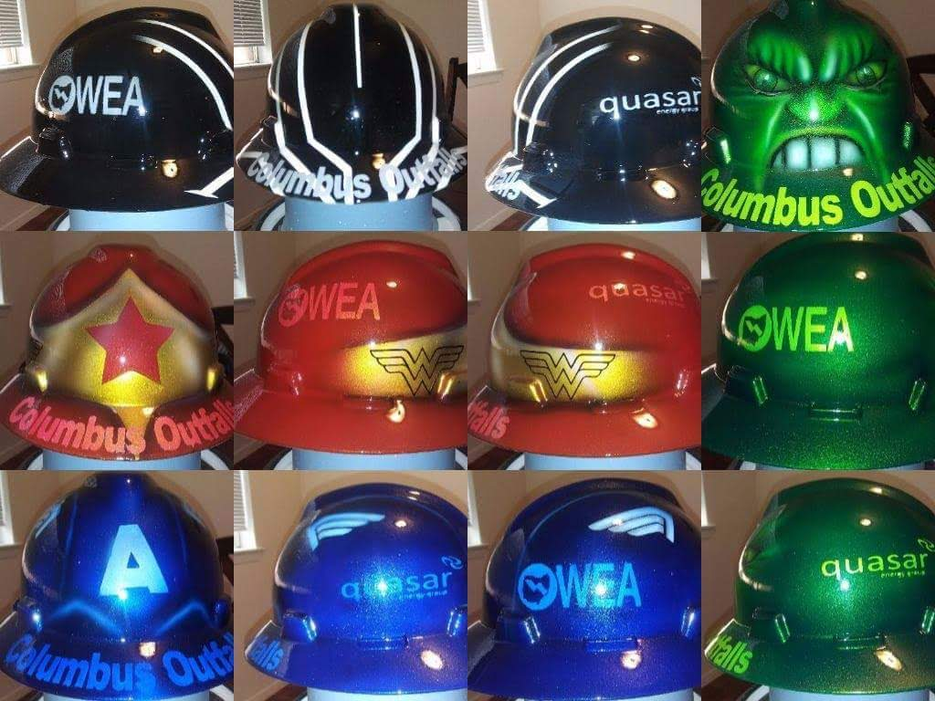 super hero hard hats hulk wonder woman