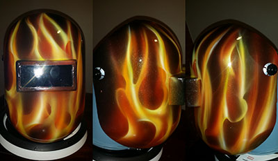 Real flames pipeliner welding hood
