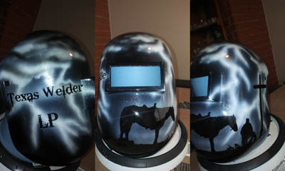 custom pipeliner welding hood praying cowboy