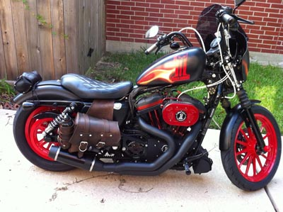 dark harley logo custom painted in matt black and flames