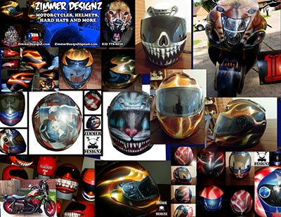 collection of painted motorcycle helmets