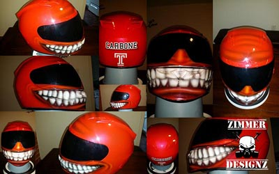 red smiley motorcycle helmet