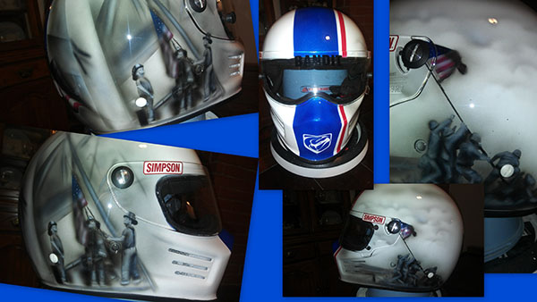 simpson racing helmet 911 and iwo jima custom painted