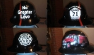 Custom memorial hard hat, fire themed