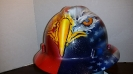 flag hard hat with eagle custom paint